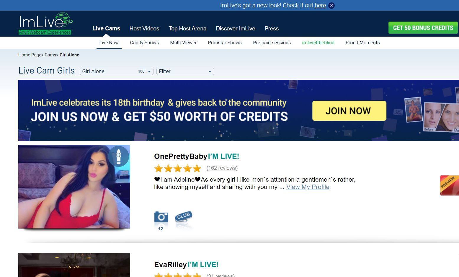 ImLive Home Page Screenshot