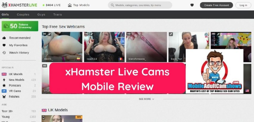 xhamster live cams mobile review